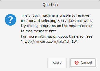 unable to reserve memory
