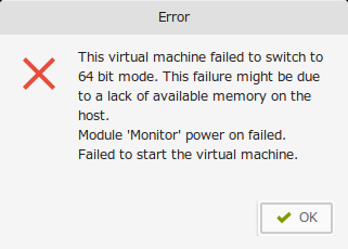 failed to switch to 64bit mode